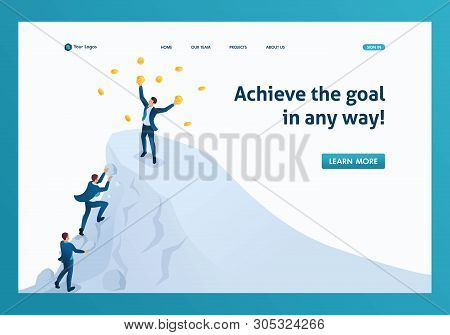 Isometric To Achieve Success, To Achieve The Goal, To Be On Top Of The Mountain. Template Landing Pa