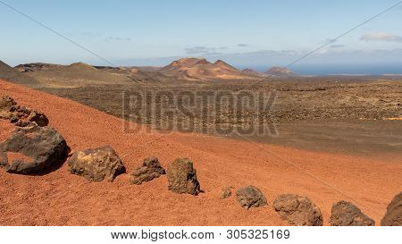 Line Of Rocks In Amazing Volcanic Landscape, Timanfaya National Park, Lanzarote, Canary Islands, Spa