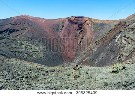 Colorful Volcanic Landscape Of Timanfaya National Park, Lanzarote, Canary Islands, Spain
