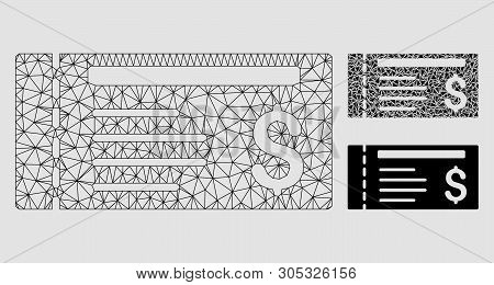 Mesh Dollar Cheque Model With Triangle Mosaic Icon. Wire Carcass Polygonal Mesh Of Dollar Cheque. Ve