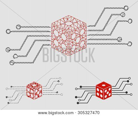 Mesh Digital Dice Circuit Model With Triangle Mosaic Icon. Wire Frame Triangular Mesh Of Digital Dic