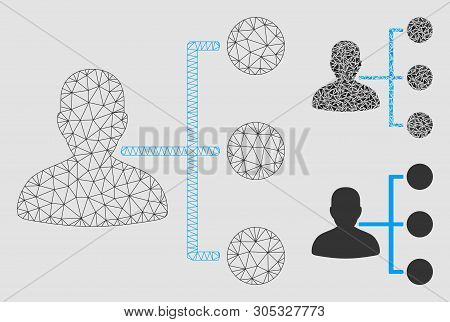 Mesh Distributor Model With Triangle Mosaic Icon. Wire Frame Polygonal Mesh Of Distributor. Vector M