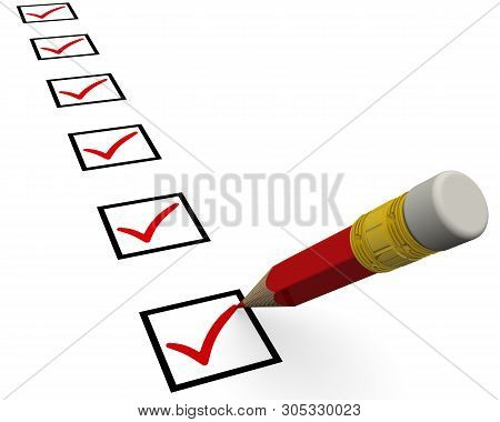 Checklist With Pencil Checking Off Tasks. A Lot Of Red Check Mark Symbols In Checkboxes And A Detail
