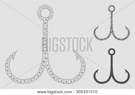 Mesh Double Fishing Hook Model With Triangle Mosaic Icon. Wire Frame Polygonal Mesh Of Double Fishin