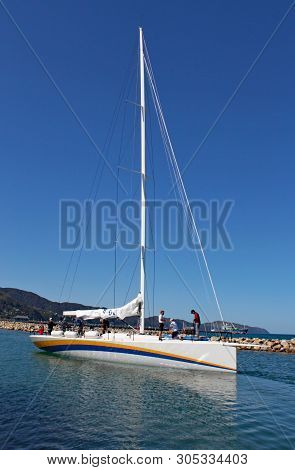 Newly Built Racing Yacht Oystercatcher Prepares To Leave It's Wellington Harbour En Route To Taurang