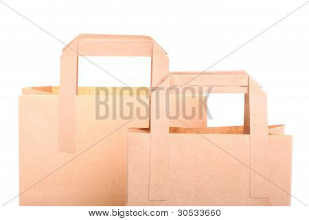 Shopping Brown Gift Bags Isolated