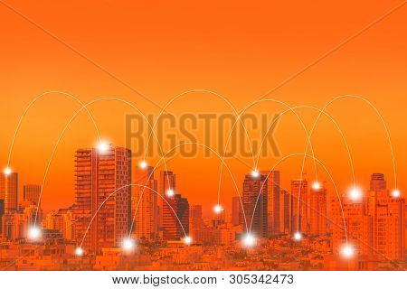 Modern City With Wireless Network Connection Concept. Red Tone City Scape And Network Connection Con