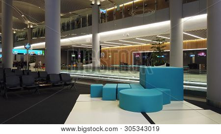 Istanbul, Turkey - April 19, 2019: Duty Free Shops With Waiting Benches Of Istanbul Airport. Istanbu