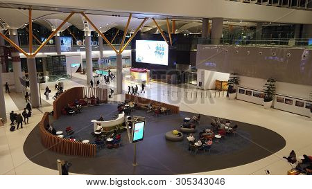 Istanbul, Turkey - April 19, 2019: Aerial View Of Waiting Room Of Istanbul Airport. Istanbul Yeni Ha