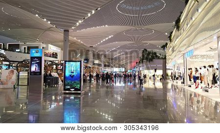 Istanbul, Turkey - May 7, 2019: In The Luxory Stores Of New Istanbul Airport. The Istanbul Yeni Hava