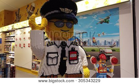 Istanbul, Turkey - May 7, 2019: Pilot Figure Of Lego Bricks In The New Lego Store Of New Istanbul Ai