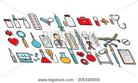A Large Set Of Medicine Items Icons Prickles Prickles Pills Icons Of Medical Instruments Doctor Micr