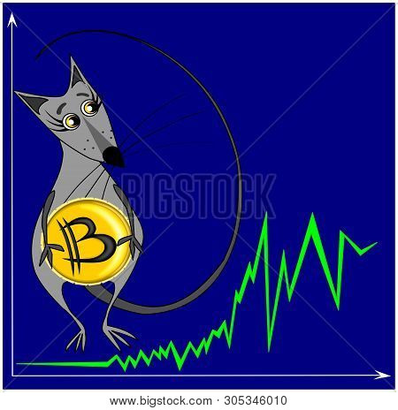 Illustration, Graphics - A Mouse Or Rat Stands On The Background Of A Bitcoin Growth Chart And Holds