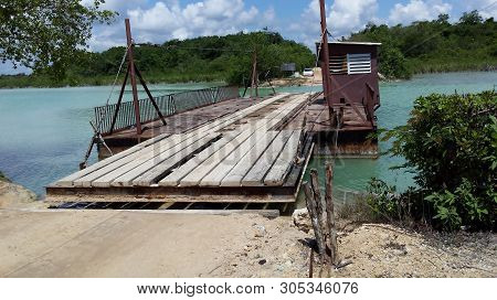 Drive On River Crossing Ferry Linking Orchard Bay To Belize Mainland.