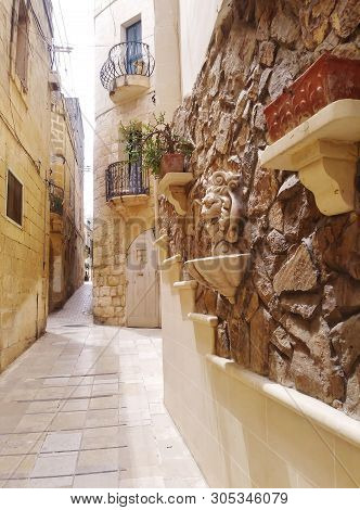 The Quaint And Narrow Passages That Abound In The City Of Victoria On The Island Of Gozo Malta.