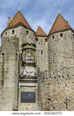 La Dame Carcas, Located Opposite The Entrance Towers Of The City, Carcassonne France.