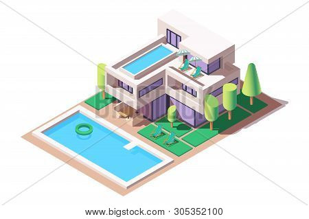 3d Isometric Big House With Modern Design And Pool. Concept Isolated Expensive Building With Tree, W