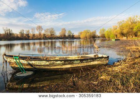 River Boat Nature Landscape. Nature Landscape. Clouds And River Landscape. Outdoor Traveling Landsca