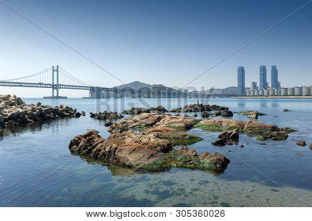 Gwangalli Beach And Gwangan Bridge, Popular Tourist Destination In Busan, South Korea