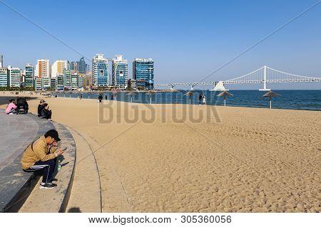 Busan, South Korea - April 2019: Gwangalli Beach And Gwangan Bridge, Popular Tourist Destination In