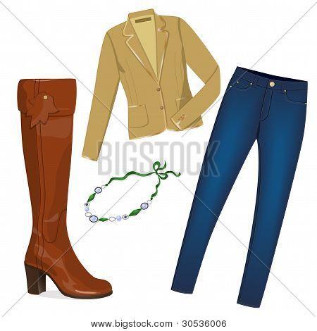 Stylish woman wardrobe.