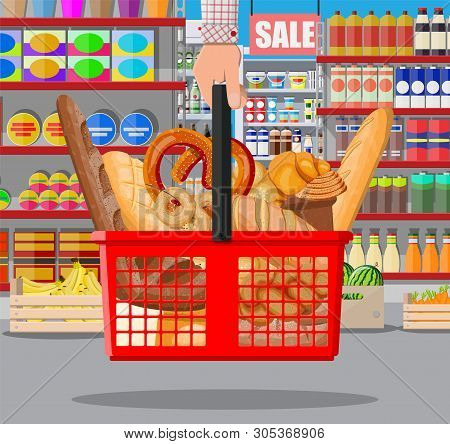 Bread Products In Shopping Basket In Hand. Supermarket Interior. Whole Grain, Wheat And Rye Bread, T