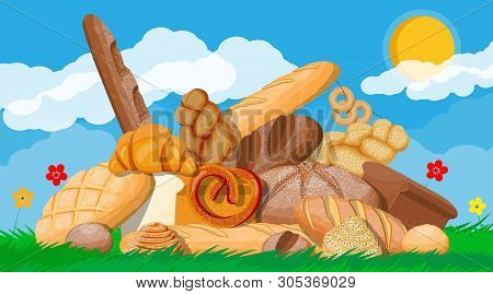 Big Bread Icons Set. Nature Grass Flowers Cloud And Sun. Whole Grain, Wheat And Rye Bread, Toast, Pr