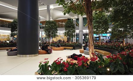 Istanbul, Turkey - April 19, 2019: Round View Of Relaxing Waiting Room Of Istanbul Airport. The Ista