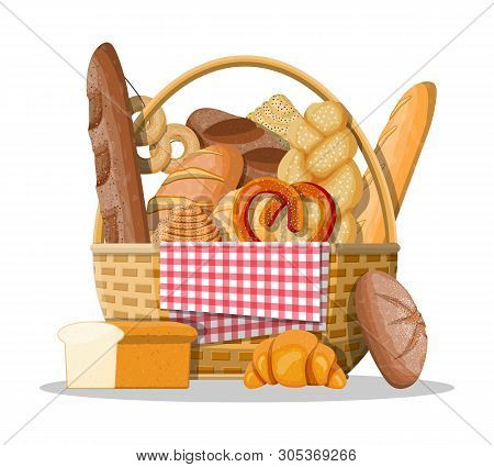 Bread Icons And Wicker Basket. Whole Grain, Wheat And Rye Bread, Toast, Pretzel, Ciabatta, Croissant