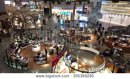 Istanbul, Turkey - April 19, 2019: Shopping Mall In New Istanbul International Airport. The Istanbul