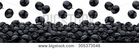 Falling Black Olives Isolated On White Background, Heap Of Black Pickled Olives, Seamless Pattern