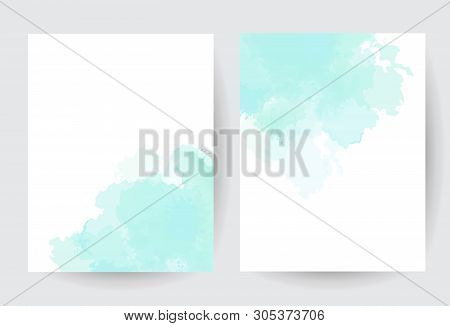 Teal Blue Watercolor Vector Splash Cards. Simple Minimalist Backgrounds, Hand-drawn Watercolour Text