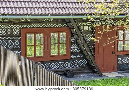Detail Of Painted Folk House, Cicmany Village, Slovak Republic. Architectural Theme. Travel Destinat