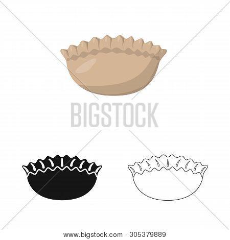 Vector Design Of Jiaozi And Ravioli Icon. Set Of Jiaozi And Dough Stock Vector Illustration.
