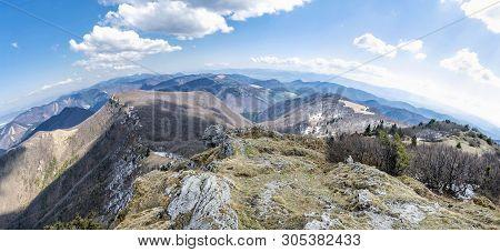 Spring Time In Klak Hill, Slovak Republic. Seasonal Natural Scene. Panoramic Photo.