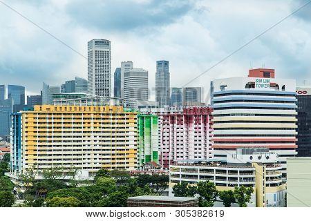 Singapore-jun 24 2017:singapore City Image,colorful Building Skyline View