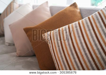 Close Up Of Backrest Pillow On Sofa
