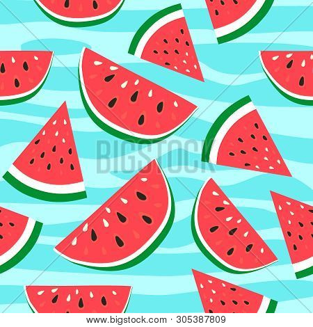 Vector Watermelon Background With Black Seeds. Seamless Watermelons Pattern. Vector Background With