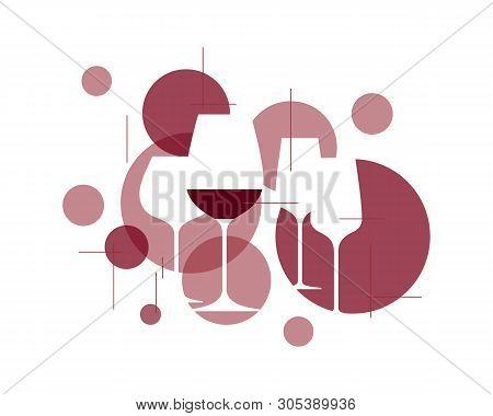 Wine Symbol. Illustration With Wineglasses. Design Element For Tasting, Menu, Wine List, Restaurant,