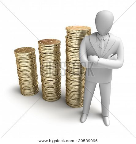 Whiteman and rising money graph, 3D concept
