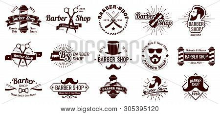 Vintage Barber Badges. Gentleman Haircut Styling, Barbershop Razor And Shave Salon. Mans Hair Haircu