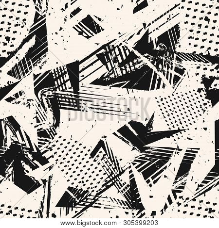 Abstract Monochrome Grunge Seamless Pattern. Urban Art Texture With Paint Splashes, Chaotic Shapes,