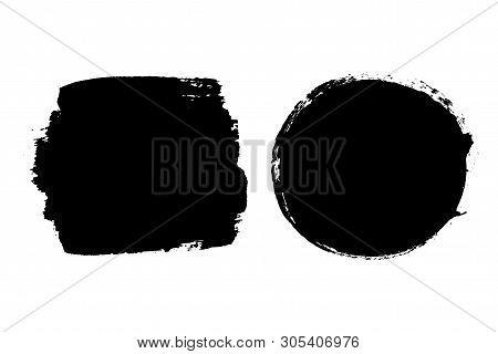 Brush Strokes Set Isolated White Background. Circle Black Paint Brush. Grunge Texture Round Stroke.