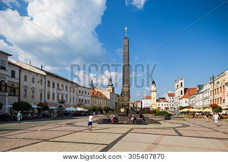 Banska Bystrica, Slovakia - August 07, 2015: Old Main Square With Russian Soldiers Monument, Clock T