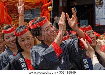 Tokyo, Japan, May 12, 2019 : Kanda Matsuri (or Kanda Festival) Is One Of The Great Shinto Festivals