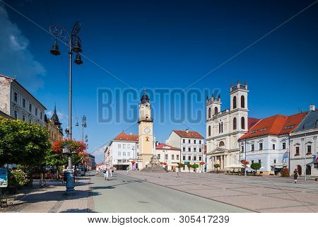 Banska Bystrica, Slovakia - August 07, 2015: Old Main Square With Town Halls, Clock Tower And St. Fr