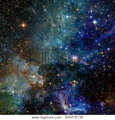 Universe Scene With Planets, Stars And Galaxies In Outer Space. Elements Of This Image Furnished By