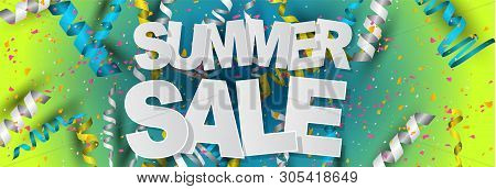 Summer Salehorizontal Banner Design Concept With Confetti And Ringlets On Blue And Green Gradient Ba