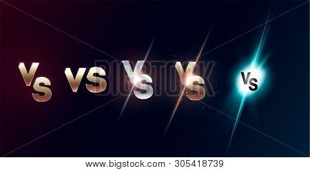 Set Of Versus Logo Vs Letters For Sports And Fight Competition. Mma, Ufs, Battle, Vs Match, Game Con