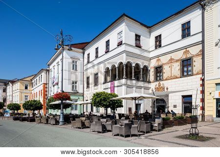 Banska Bystrica, Slovakia - August 07, 2015: Old Square With Old Tenement Houses In Banska Bystrica,